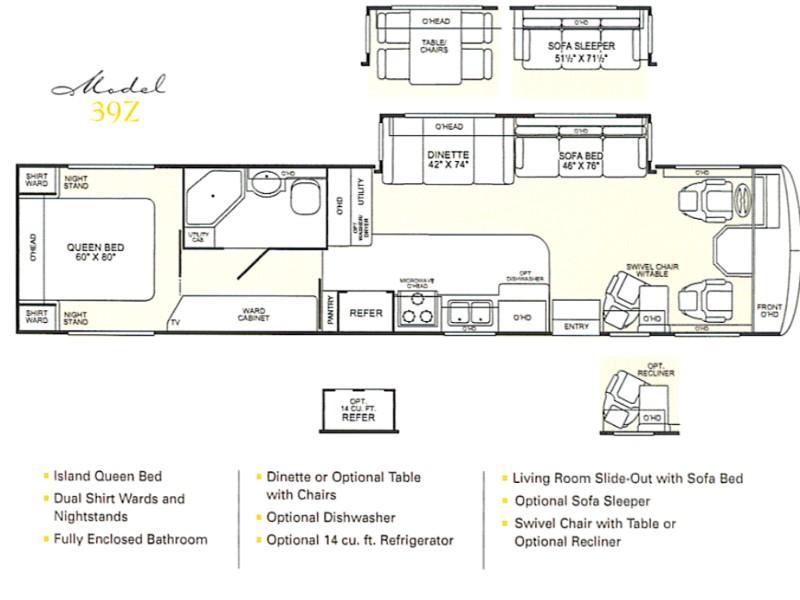 2001 Fleetwood Bounder 39z Photos Details Brochure With Floorplan